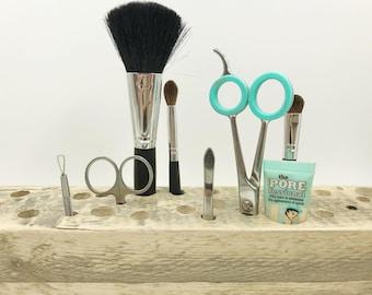 Makeup Brush Holder / Reclaimed Rustic Brush Organizer