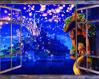 Window with a View Disney Tangled Castle and Lanterns Mirrored Wall Mural Brown Window Frame