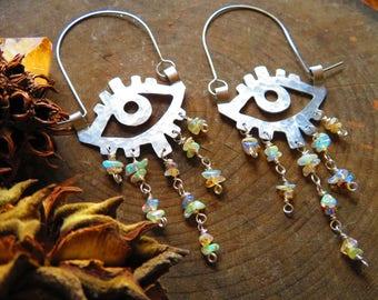 gemstone beaded eye earrings, crybaby beaded hoop earrings, November birthstone earrings