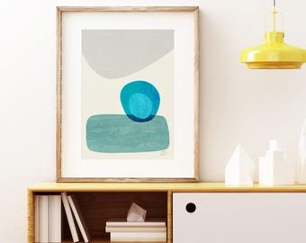 Mid-century modern art, vintage style print, abstract artwork - Stacking Pebbles wall art print