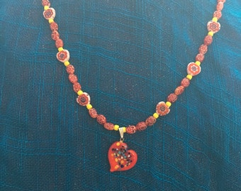 """necklace """"Celebrate Love"""" Murano Glass Heart, Millefiori beads, Valentine's Day, Self Love, Reiki charged, Bohemian Valentines, Gift for her"""