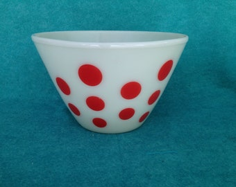 Fire-King Glass Red Dots Mixing Bowl Splash Proof 4 Quart Largest of 4
