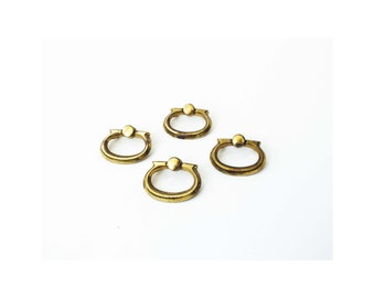 Mid Century Brass Oval Drawer Pulls / Set of 4