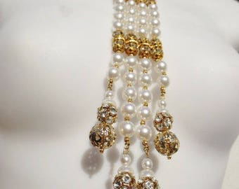Vintage BIB Necklace Pearl Rhinestone White Gold Statement Costume Jewelry
