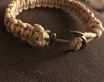 Cotton Cord Bracelet with Anchor Charm Toggle