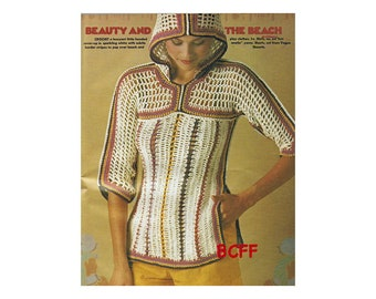 Women's Pullover Hoody Cover Up Crochet Pattern Vintage 1970's Digital Crochet Pattern