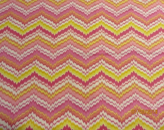 Cozy Cotton Flannel  Pink/White/Yellow Chevron   -Fabric-Priced Per 1/2 Yd-   Free Shipping