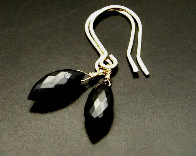 CLAIRE ~ Black Spinel, 14kt Gold Fill Earrings