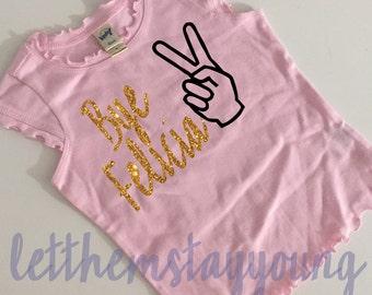 Bye Felicia gold glitter shirt baby girl clothes Hipster baby clothes baby girl outfit baby shower gift gold glitter shirt Sassy girl shirt