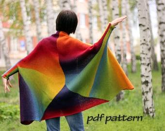 KNITTING PATTERN Rainbow sweater by ToBeStudio Knitted cardigan Wool cape Kimono jacket Women sweater Boho clothing Knit tutorial Hand made