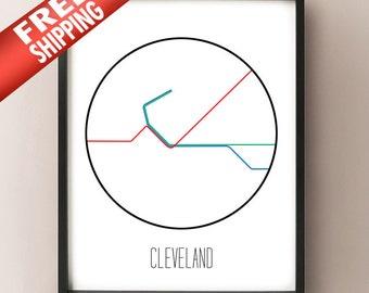 Cleveland, Ohio - Minimalist Metro Subway Art Print - Red Line