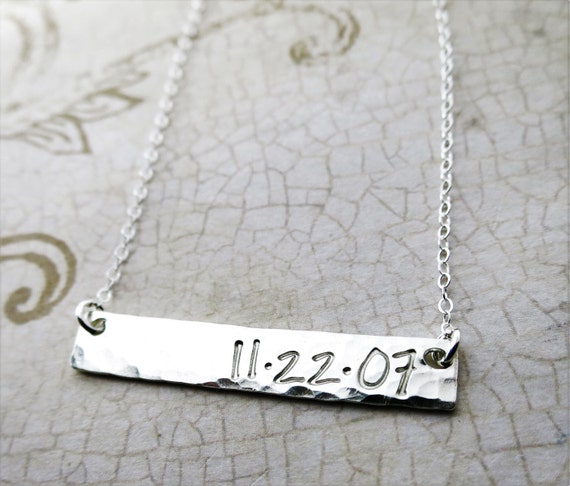 Custom Date Jewelry - Silver Bar - Sterling Silver Bar - Horizontal Silver Bar - Personalized Date Necklace - Hand Stamped - Engraved Date