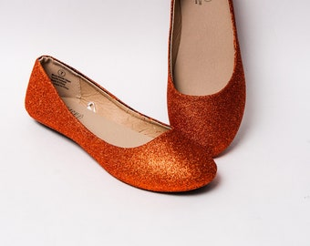 Glitter - Pumpkin Orange Ballet Flat Slipper Shoes