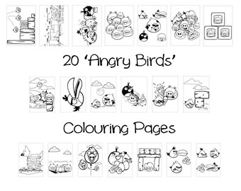 ANGRY BIRDS -  Colouring Book Pack - 20 x A4 Sheets ! (Rainy Day/ Holiday Craft for Children)