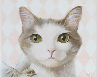 Cat art PRINT Cat portrait Cat face Cat painting Brown white cat Modern wall decor Green eyes  Illustration art whimsical domestic Pet