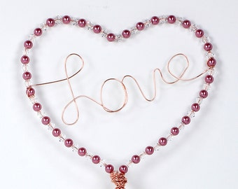 Love Heart Valentines Day or Wedding Cake Topper Custom Wire Sculpture Simple Classic Pearl Swarovski Crystal Heart Love