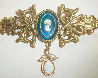 Blue Glass Cameo Brooch With Opalescent Teardrop