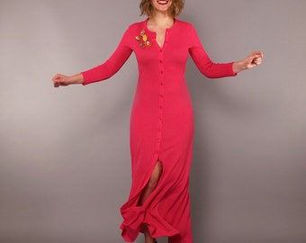 1970s Vintage Hot Pink Long Sleeve Knit Button Up Cardigan Maxi Dress