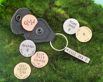 Golf Marker with Keychain Personalized Hand Stamped Dad or Grandpa Copper, Brass, Aluminum Hand Stamped Personalized Key Chain-