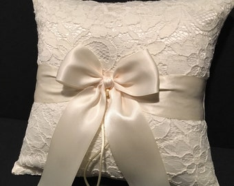 White or Ivory Lace Wedding Ring Bearer Pillow