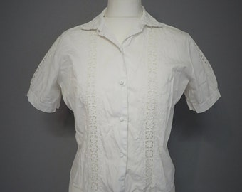 Vintage 40s/50s Blouse ivory white cotton with embroidery S/M