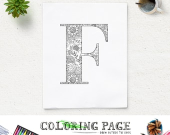 Coloring Pages Using Numbers : Sale coloring page floral printable alphabet with texture