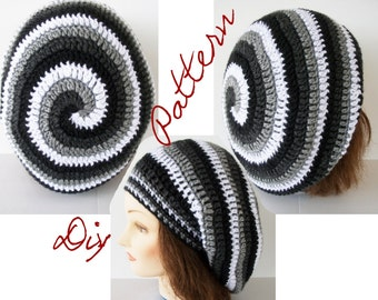 Crochet Pattern: Ombre Spiral Slouch Hat Pattern Monochromatic Stripes 4 Color