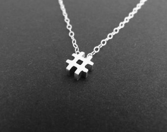 Hashtag necklace, sterling silver, typography charm, choker jewelry