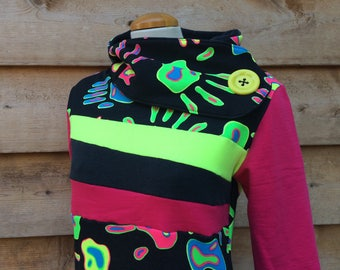 RAVE ON Hoodie Sweatshirt Sweater Handmade Recycled Upcycled One of a Kind - Ladies Medium - Neon with Pockets Blacklight Raver