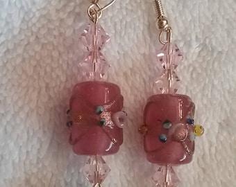 Rose and Blue Lampwork Earrings