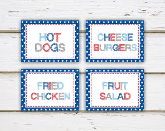 Printable Fourth of July Food Tent Cards, Personalized Cards, Table Settings, Place Cards, July 4th, BBQ, Barbecue, Summer Party, MB170