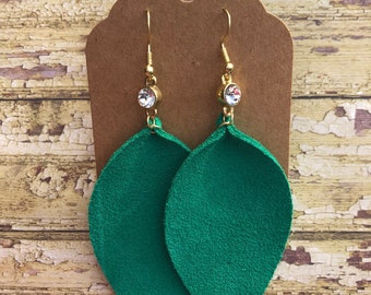 Turqoise Leather Earrings, Suede Leather Earrings, Leaf Earrings, Statement Earrings, Dangle Earrings