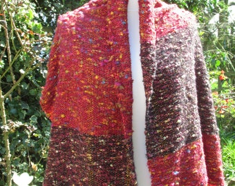 Kaleidoscope Red - a hand-woven shawl / scarf