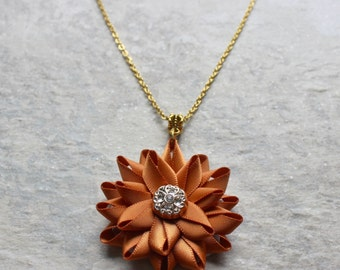 Orange Necklace, Burnt Orange Necklace, Rust Necklace, Gold, Burnt Orange Jewelry, Burnt Orange Bridesmaid Jewelry, Flower Pendant Necklaces