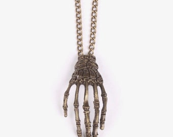 Skeleton Bones Hand Necklace - Bronze