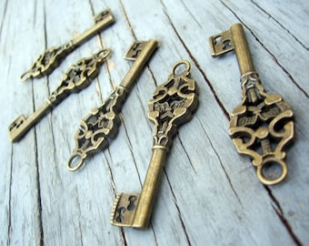 "Skeleton Keys 50 pieces Steampunk Keys Antiqued Bronze 50mm/2"" old vintage style wedding Skeleton key decorations favors pendants bulk lot"