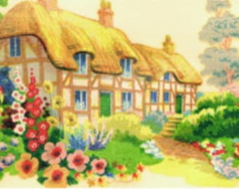 """TRADITIONAL THATCHED COTTAGE English Country Garden Vintage Decals Transfers - """"Chocolate Box Cottage"""" Unique Retro Varnish Mount Type"""