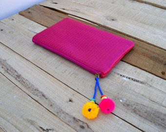 Bright pink pouch, zipper purse, make up or cosmetic bag, utility pouch, quilted polysilk, bohemian
