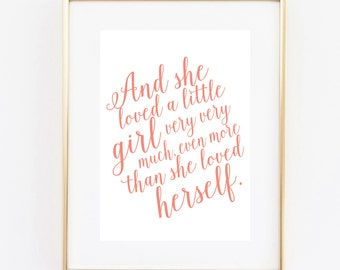 and she loved girl 5x7 printable instant download