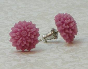 Mum Flower Earrings - Mauve Pink