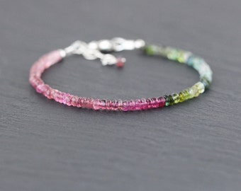 Pink, Green & Blue Tourmaline Beaded Bracelet. Watermelon Tourmaline Stacking Bracelet. Multi Gemstone Bracelet. Sterling Silver. Rose Gold