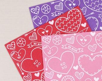 Printed Felt // Be Mine Valentine // Valentine's Day Craft, Heart Designs, Patterned Felt Sheet, Valentine Garland, Heart Felt, Valentine
