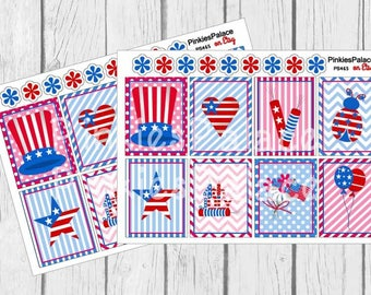 Americana Stickers 4th of July Independence Day Planner Stickers Full Box PS465 Fits Erin Condren