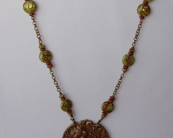 Necklace - Long collier pendentif estampe femme, perles d'Autriche et œil de tigre