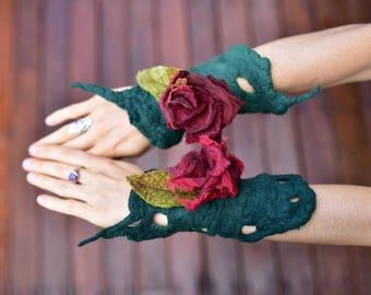 Filz Blumen Manschetten-Blatt Fee Handgelenk Manschetten-Pixie Schmuck-passende Armbänder-Filz-Blume Schmuck-Fee Kostüm-Festival WearOOAK