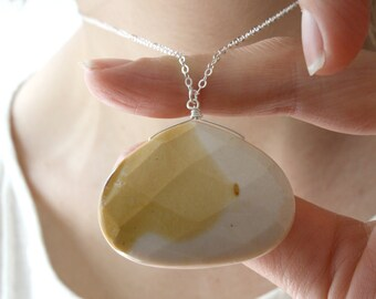 Mooakite Jasper Necklace . Natural Stone Large Gemstone Pendant Necklace . Australian Jasper Necklace . Strength Necklace