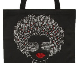 Silver Hair Afrogirl wearing Glasses Nailhead Tote Bag