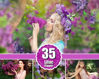 35 Lilac flower Photo Overlays, shooting through flower, green, spring, summer, Photoshop Overlays, png file