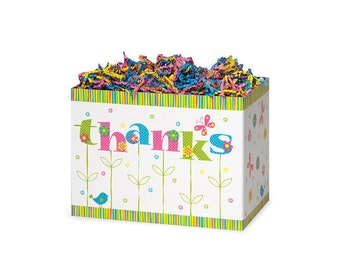 Thanks In Bloom gift Basket Box Available in 2 sizes. Choose package amount