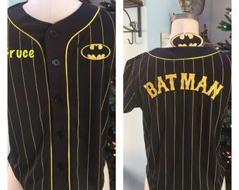 BATMAN Boy's Baseball Jersey Shirt Top - Personalized